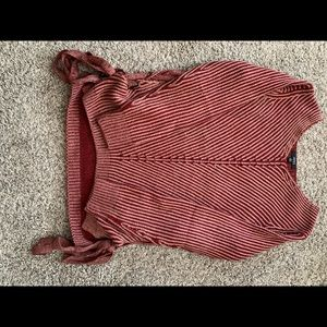 Maroon sweater with tied sides